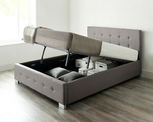 Aspire Beds Upholstered Storage Ottoman Bed Grey, Black or Natural Linen Fabrics