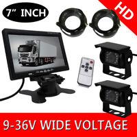 """2 x CCD Reversing Camera 4Pin Waterproof + 7"""" LCD Monitor Caravan Rear View Kit"""