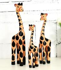 Giraffe Family Hand Carved Wooden Indonesian Fair Trade Statue Figure Ornament