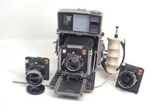 Linhof 70 Camera Complete 3 Lenses With Cams 2 Rollex Film Backs