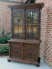 Antique French Oak Bookcase Black Forest Hunt Display Cabinet Jacobean Sideboard