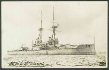 Postcard. Royal Navy Battleship HMS St. Vincent. Good Clear Detailed RPPC