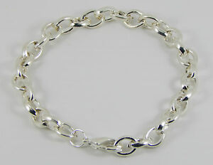 SILVER PLATED CHARM BRACELET FOR CLIP ON CHARMS  LOBSTER CLASP SIZES 15 cm- 23cm