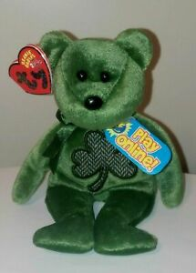 ST* Ty Beanie Baby 2.0 - LUCKIER the Irish Bear - MINT with MINT TAGS (STICKER)
