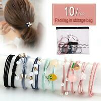 10Pcs Elastic Rope Women Pearl Hair Ties Ponytail Holder Head Band Hairbands Set
