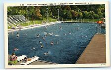 Municipal Swimming Pool Cleveland Park Greenville SC Linen Vintage Postcard D04