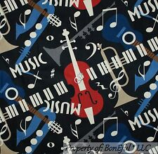 BonEful Fabric FQ Cotton Black Gray Tan Blue Red Guitar Word Sax Note Cream Dot