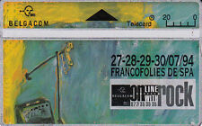 Telecard Belgacom 20 on line with rock Francofolies  Spa 27-28-29-30/07/94 445B