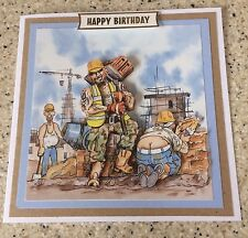 Handmade Happy Birthday 3D decoupage card bricklayer builder humourous brickie