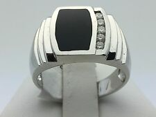 Solid 14K White Gold Black Onyx Ring with Round Diamonds Size 10.5