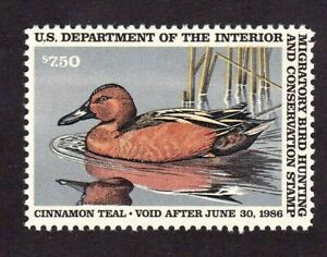 United States Federal Duck Stamp # RW 52, MNHOG, XF Superb, 1986