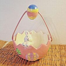ceramic pearlized pink Easter egg candy dish