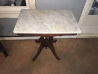 Antique American Walnut White marble top Victorian table rectangular shape