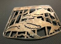 Vintage Silver Cut work Whale Brooch Wild Bryde Signed designer Jewelry Art
