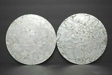 """2 Wendell August Hand Forge Dogwood Hammered Aluminum Hot Plates Trivets 8"""" NICE"""