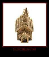 VINTAGE 14K SOLID YELLOW GOLD SEE-THRU CHURCH CHARM/PENDANT
