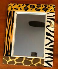 "Pier 1 Imports Safari Animal Print Framed Mirror 14"" x 11"" 4 Prints 135-4407"