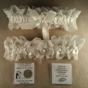 Wedding Garter plus Lucky Sixpence For Bride's Shoe - White