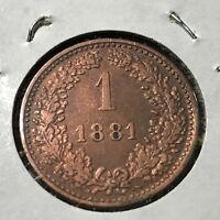 AUSTRIA 1881 ONE KREUZER HIGH GRADE COIN