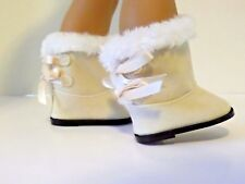 """Ivory Fur Hugg Boots Fits 18"""" American Girl Doll Clothes Shoes"""