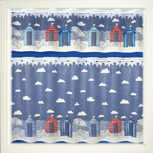 """Sandbanks/Seaside Coloured Lace  Cafe Net 12""""Drop Curtain By The Metre"""