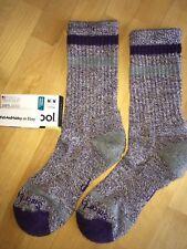 SmartWool Birkie Crew Socks–Mountain Purple Heather, Casual Cozy Dress–Women MED