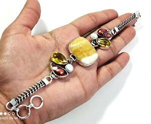 Yellow Aventurine Red Biwa Pearl Citrine Gemstone Jewelry Silver Bracelet B-547