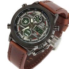 Reloj de cuarzo Excelente 45mm Multi Función De Acero Militar Ejército barco LCD sub Sport U