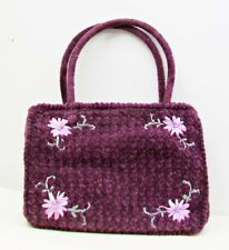 Plum Soft Unstructured HANDBAG Lavender Ribbon Flowers Tiny Pearls Purse Bag