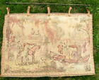 """vtg tapestry made in France 37 x 24"""" image of 1700 or 1800s court"""