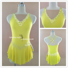 Yellow Ice Figure Skating Dresses Custom Women Competition Skating Dress W154
