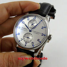 43mm parnis silver dial power reserve seagull 2542 automatic mens watch P99C