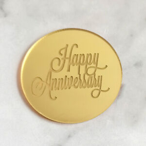 5PCS Happy Anniversary Cupcake Topper Gold Silver Acrylic 3D Circle Cake Topper