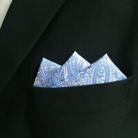 SHLAX&WING Paisley Blue Mens Pocket Square Handkerchief for Suit Jacket Silk