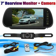 "7"" LCD Screen Car Backup Mirror Monitor Reverse IR Camera Rear View System Kit"