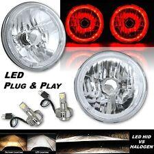 "7"" Red LED Halo Angel Eye 12V Headlight Headlamp w/ 6k LED H4 Light Bulbs Pair"