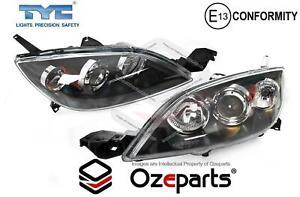 Set / Pair LH+RH Head Light Lamp Black For Mazda 3 BK 2003~2009 5 Door HATCH