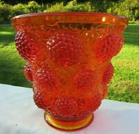 "Fenton Vintage Glass Vase Vessel of Gems 1968 Colonial Orange 6.75""H x 6.75""W"