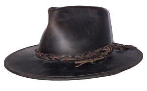 Vintage Men's S Handmade Genuine Brown Leather Gaucho Style Cowboy Hat Argentina