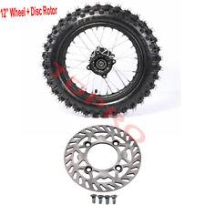 "12mm Axle 80/100-12"" Inch Rear Wheel Rim Tyre 1.85x12+ Disc Rotor PIT Dirt Bike"