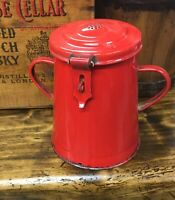 Red Graniteware Enamelware  2 handle Canister Pot Jar with Hinged Lid Farmhouse