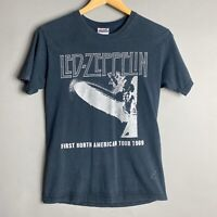 Vtg Distressed Black Led Zeppelin Tee Cotton Hanes Size Adult Small - Read Measu