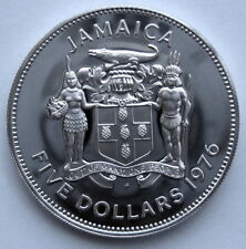 1976 Jamaica Norman W. Manley Five 5 Dollar Proof .500 Silver Coin