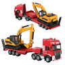 1:50 Alloy Diecast Excavator + Trailer Model 2 IN 1 Engineering Vehicle Toy Gift