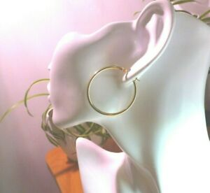14Kt Yellow Gold 2 X 35MM Pair Hoop Earrings - Gift Box - FREE SHIPPING!