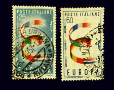 Italy Stamp 1957 / Europa 25 & 60 Lire /  Set of 2 / Used