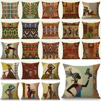 Cartoon Fashion African Woman Lady Cushion Covers Linen Throw Pillow Case 18""