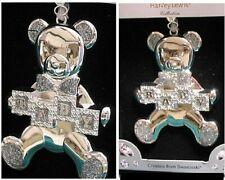 Silver plated Swarovski Crystal Teddy Bear Keepsake baby shower / Birth Ornament