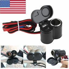 12V USB Motorcycle Cigarette Lighter Waterproof Power Port Outlet Socket Kit