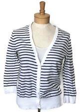 Ann Taylor Loft para mujer Suéter XS Negro Blanco Con Rayas Cárdigan botón  frontal 3297819e3d97